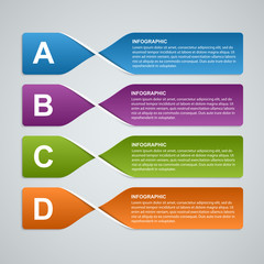 3D abstract paper banners, options infographic. Design element.