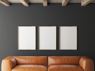 mock up posters on grey wall, 3d illustration