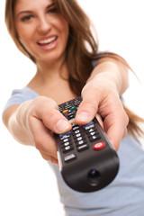 Attractive caucasian woman with  TV remote