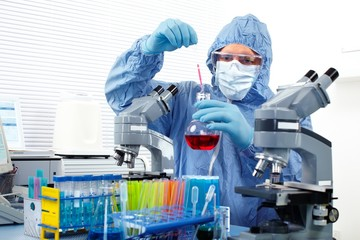 Doctor working in laboratory.