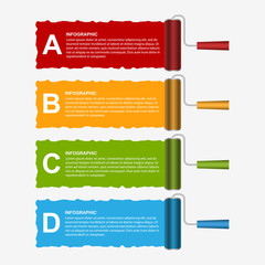 Roller brush infographics options banner. Design template.