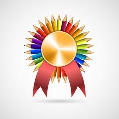 Education pencil award rosette with ribbon. Vector illustration.