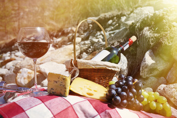 Red wine, cheese and grapes served at a picnic. Verzasca valley,