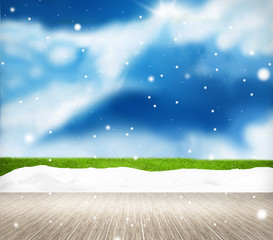 Festive snow winter scenery background