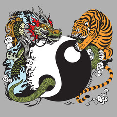 yin yang symbol with dragon and tiger