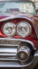 Headlight of oldtimer. Havana, Cuba