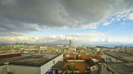 Panoramic skyline view of Naples city with Mount Vesuvius