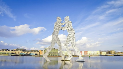 Molecule Man sculpture on the Spree River, Berlin, Germany