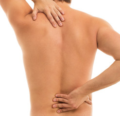 Man holds his back due to pain