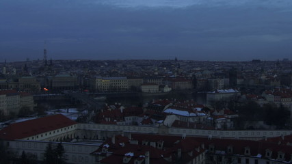Time laps, Wide shot, Darkness over Praque, Czech