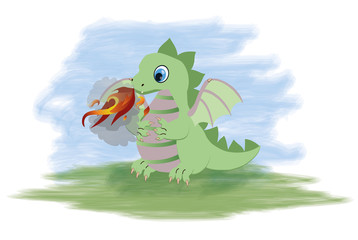 Magical little dragon, vector illustration