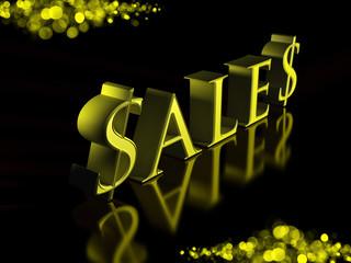 Golden Letters Sales on Black Background