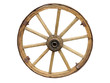 Antique Cart Wheel made of wood and iron-lined isolated - 79591629