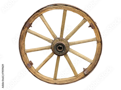 canvas print picture Antique Cart Wheel made of wood and iron-lined isolated