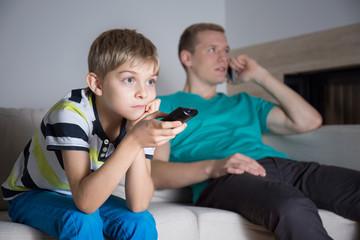 Boy watching movie