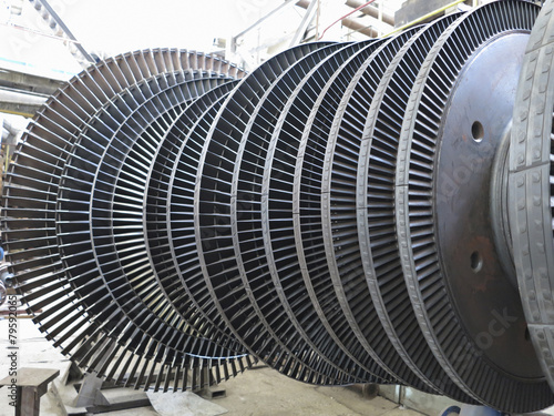 Power generator steam turbine during repair at power plant - 79592065