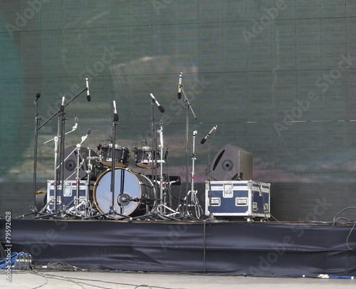 Drums set, powerfull speakers, amplifiers and stage equipment - 79592628