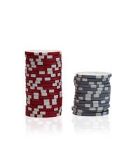 Gambling chips over white