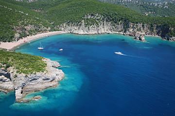 Aerial view of the wild beach Kraljeva, Montenegro