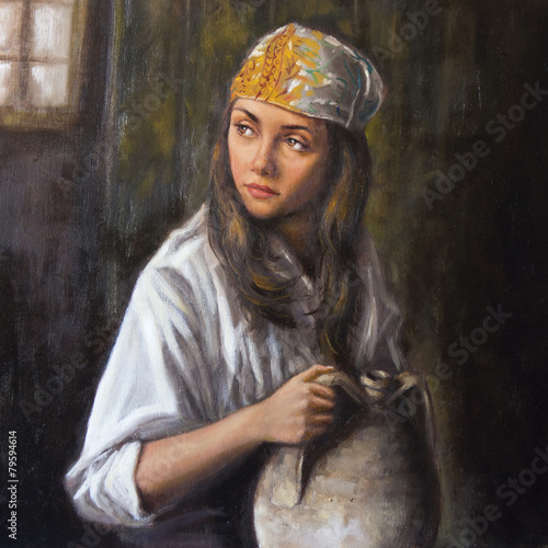 oil on canvas of a woman with amphora - 79594614