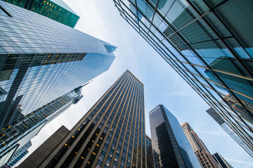 Tall skyscrapers shot with perspective