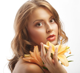 young woman with yellow lily