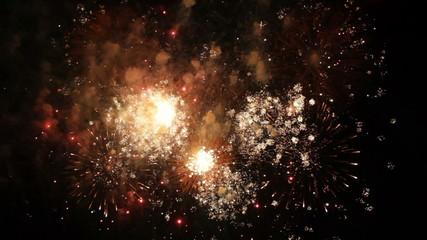 Slow mo. Beautiful Fireworks Exploding On Black Background.