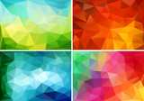 Fototapety abstract colorful low poly backgrounds, vector set