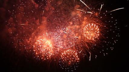 Fantastic Fireworks Exploding On Black Background in Slow motion