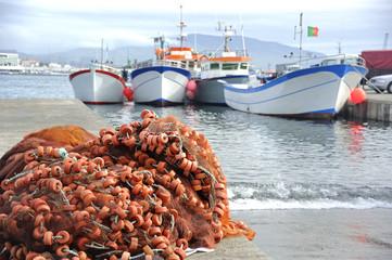 Floats and fishing boats in Ponta Delgada , Azores