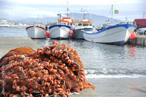 Floats and fishing boats in Ponta Delgada , Azores - 79597028