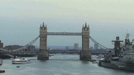 PAN up on Tower bridge thames river