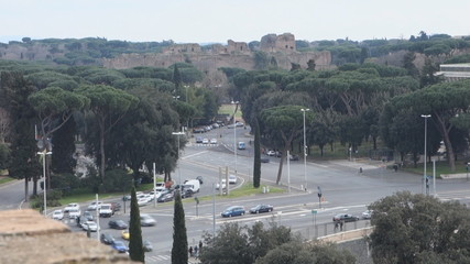 Time lapse , ancient Roman Caracalla Baths in Rome, Italy