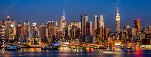 Foto Spatwand New York New York City Manhattan midtown buildings skyline night