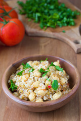 Chickpeas with rice and tomato sauce. Healthy vegan food