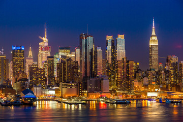 New York City Manhattan midtown budynków panoramę noc
