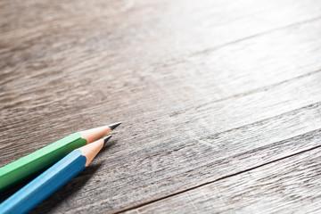 Pencils.On blank desk.