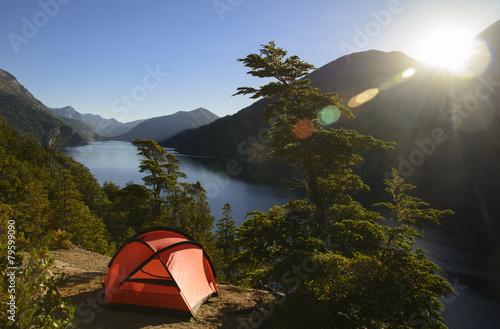 Fotobehang Kamperen Camping en Patagonia