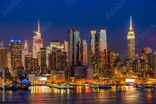 New York City Manhattan midtown buildings skyline night Poster