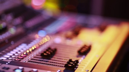 Digital Audio Console Fader by stage during performance