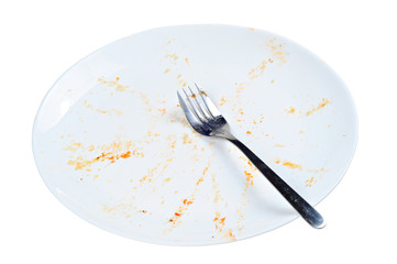 Empty and dirty plate, on white background