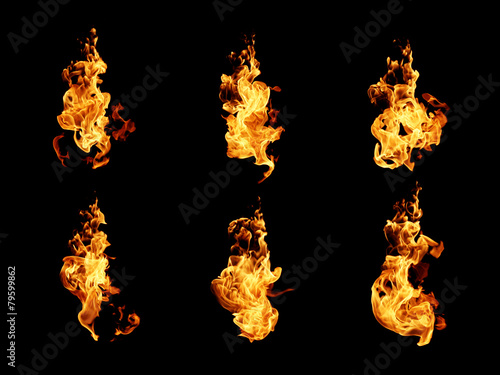 In de dag Vuur / Vlam Fire flames collection isolated on black background