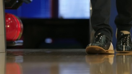 Special leather boots for bowling on feet. Slow motion