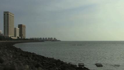 Zoom out on skyline Mumbai India