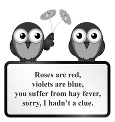 Monochrome comical Hay Fever poem