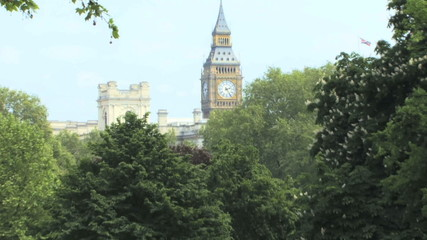 Zoom out of Big ben and St James park London UK