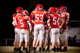 Football Team in a Huddle poster