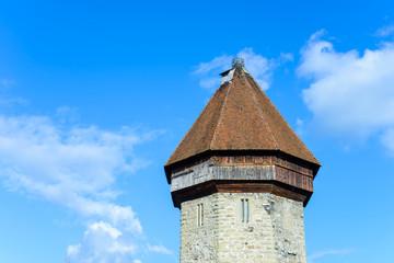 Tower of Chapel Bridge in Lucerne, Switzerland