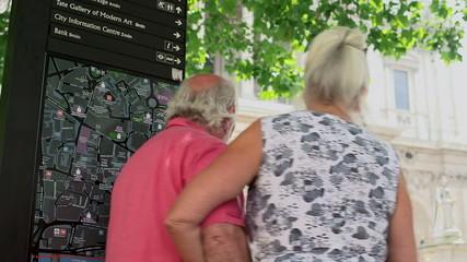 Senior couple watching map