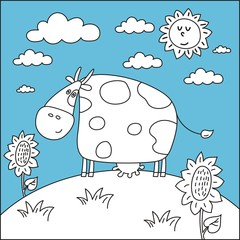 coloring book sea happy cow
